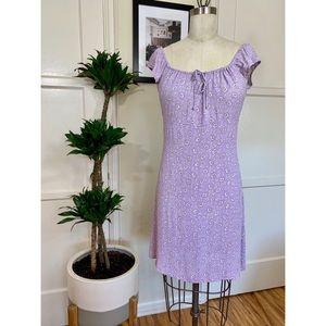 Vintage Babydoll Purple Floral Mini Dress